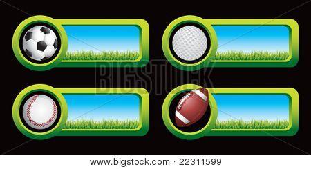 Soccer ball, golf ball, baseball, and football on countryside banners