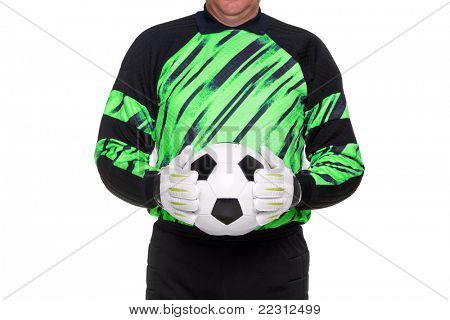 Photo of a football or soccer goalkeeper wearing gloves and holding a ball, isolated on a white background.