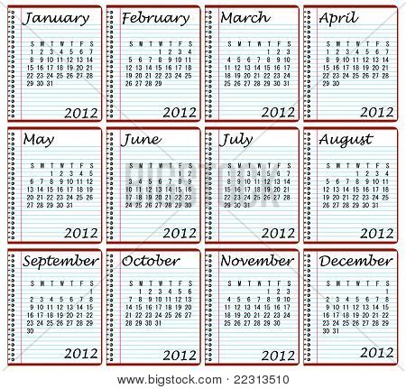 2012 Calendar on Spiral Bound Notebooks