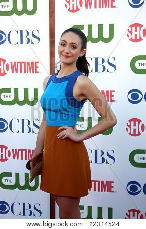 LOS ANGELES - AUG 3:  Emmy Rossum arriving at the CBS TCA Summer 2011 All Star Party at Robinson May Parking Garage on August 3, 2011 in Beverly Hills, CA