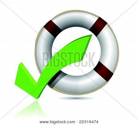 Lifesaver and Check Mark Symbol