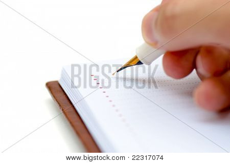 Male hand holding fountain pen and writing on the blank planner