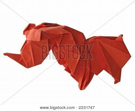 Origami Rhino Isolated On White