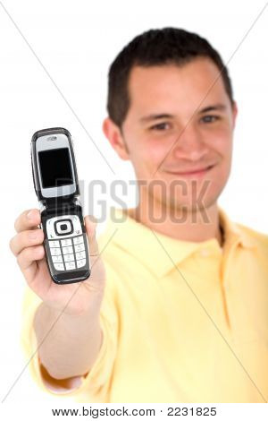 Casual Man Showing Phone