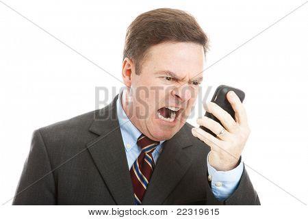 wütend Geschäftsmann schreien in ein Handy. isolated on White.