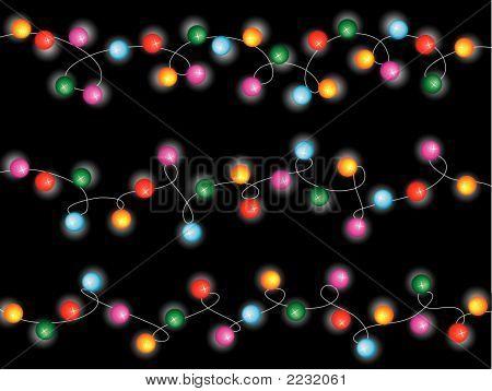 Colorful Christmas Festive Fairy Lights (Vector)