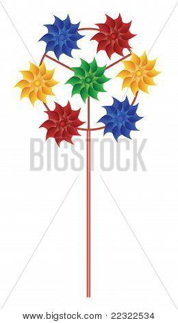 Nadelrad mit vielen hellen mehrfarbiger Spiralen Vektor