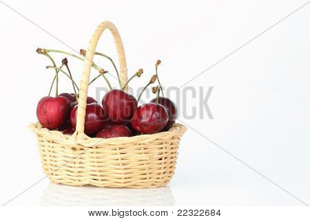 Cherry In Bamboo Basket