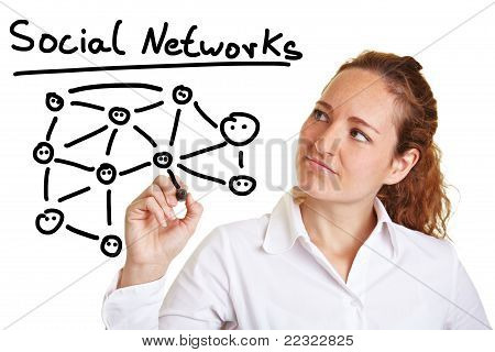 Business Woman Explaining Social Networks