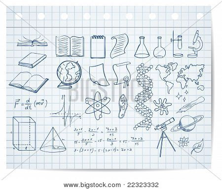 Science And Education Symbols On Copybook Page