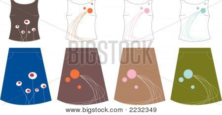 4 Retro Design Tops And Skirts (Vector)