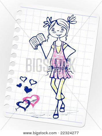 girl in a pink dress reading book. sketch school cute girl