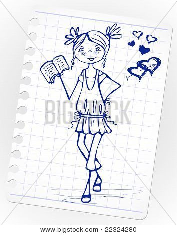 Hand-drawn fashion smile girl