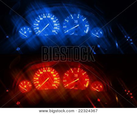 Dashboards of a modern car with artificial blurred lines. Two same images different toned