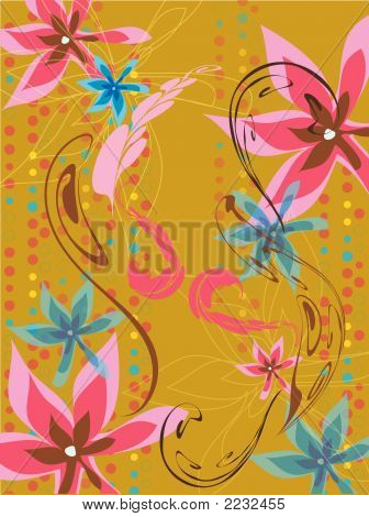 Leafy Floral Dots Pink Blue On Ochre (Vector)