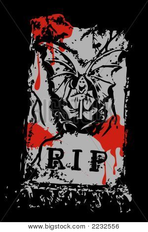 Halloween Grunge Bloody Rip Death With Wings (Vector)