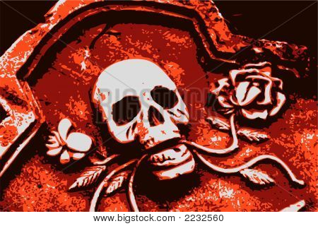 Halloween Grunge Orange Skull And Roses (Vector)