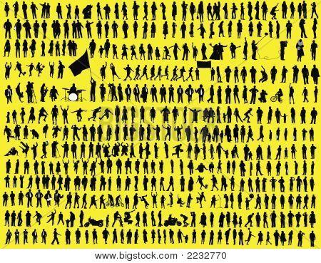 Hundreds Of  Silhouette