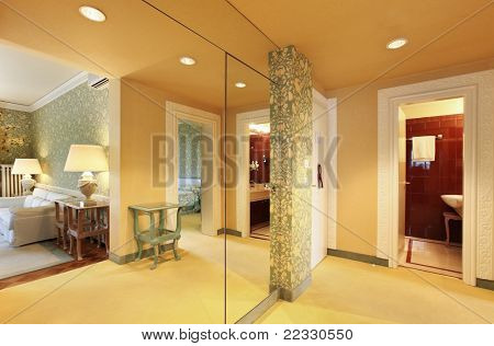 interior luxury apartment, beautiful suite, view from hall