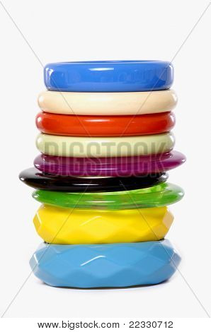Row of Fashion multicolored bangles