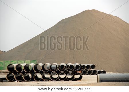 Lime Landmass And Pipes For Construction