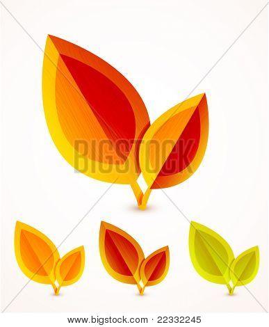 Orange leaves vector icons