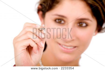 Business Woman Drawing On Screen
