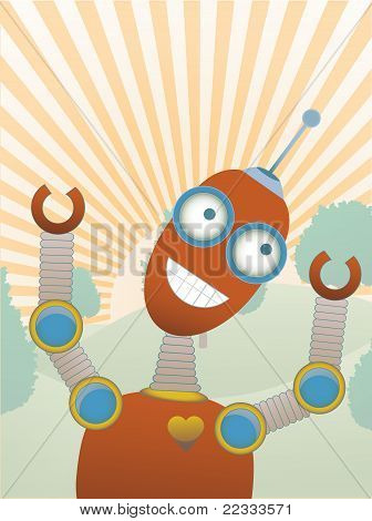 Joy Filled Robot A Top Hilly Sunny Tree Fill Scene