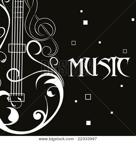black background with floral design guitar, illustration