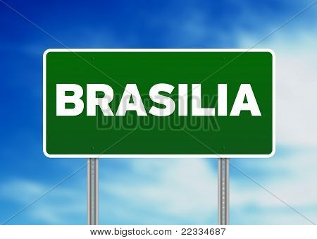 Green Road Sign - Brasilia