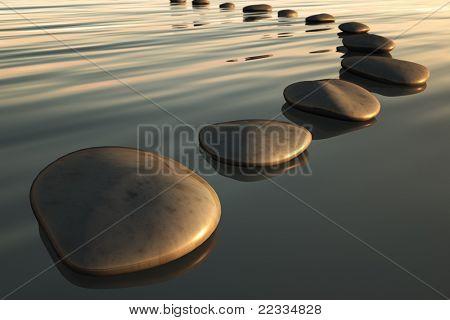 Una imagen de unas piedras de paso a la puesta del sol