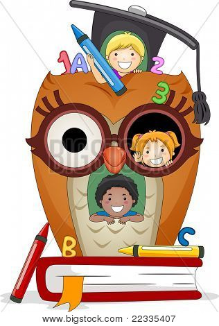 Illustration of Kids Playing in an Owl House