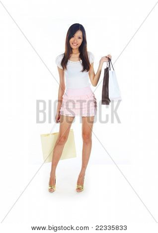 Retail Therapy Concept with Asian Lady and Bags