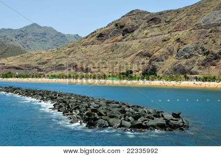 A view of Teresitas Beach in Tenerife, Canary Islands, Spain