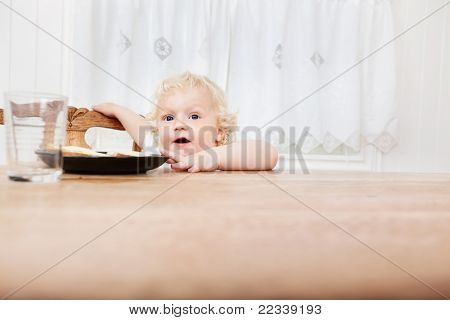 Cute adorable baby reaching for food on table