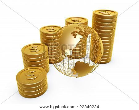 Gold Coins And Globe
