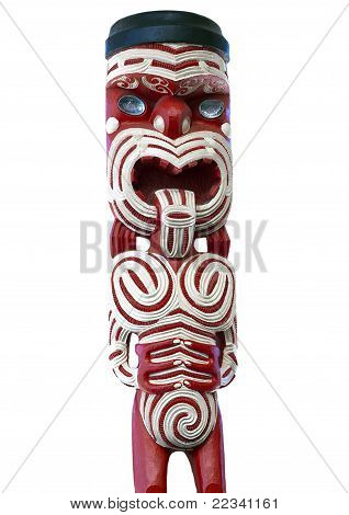 Maori Statue Painted in Traditional Red and White