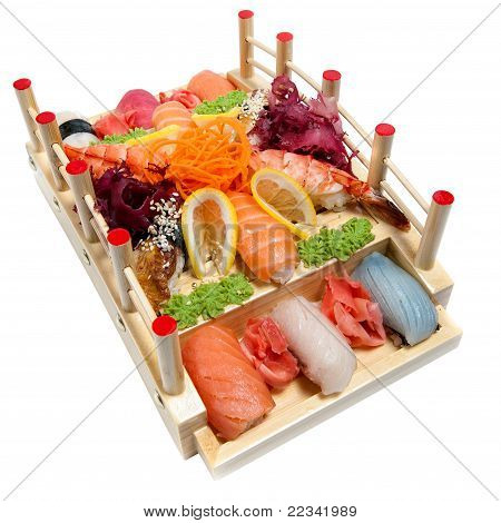 Set Of Sushi On Wooden Stand In The Form Of The Bridge