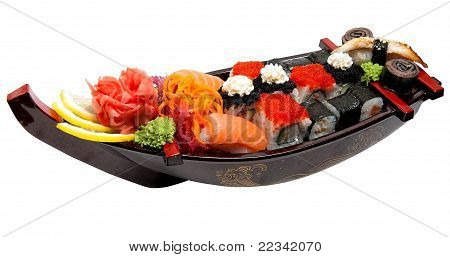 Set Of Sushi On Wooden Stand