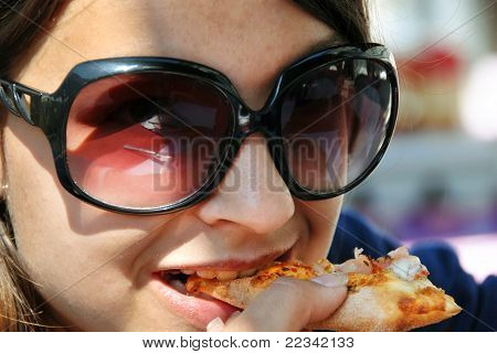 Eating Pizza