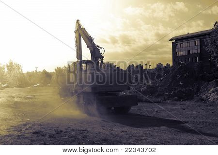 Big Construction Machine In Gradient Tones