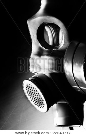 Dark Gasmask On Enlighted Background