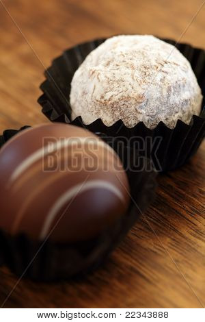 Two Chocolate Truffles