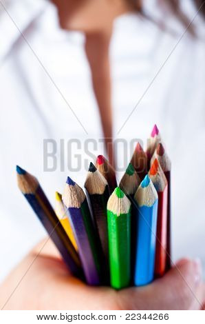 Colored Pencils With Blurry Background
