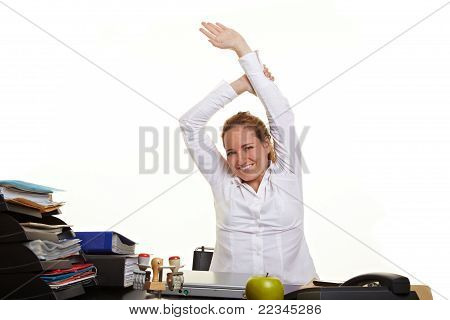 Business Woman Loosen Up At Work