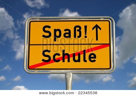 German Road Sign School And Fun