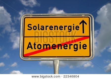 German Road Sign Nuclear Energy And Solar Energy