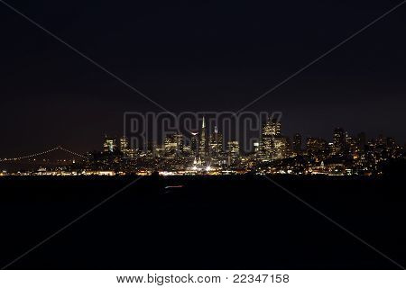 San Francisco City At Night From Across Bay