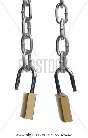 Two Open Padlock And Chain
