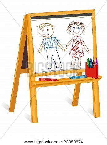 Wood Easel, Child's Crayon Drawings